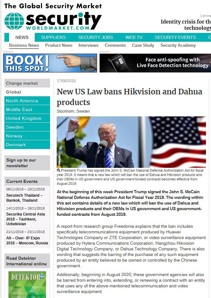 Hikvsion Ban
